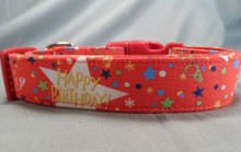 Red Happy Birthday Dog Collar rescue me dog collar