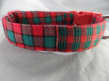 Christmas Tartan Madras Dog Collar rescue me collar