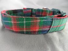 Green Madras Dog Collar Rescue Me Dog Collar