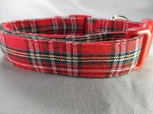Preppy Red Christmas Tartan Dog Collar rescue me dog collar