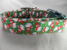 Snowmen on Green Christmas Dog Collar rescue dog collar