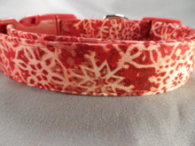 Batik Snowflakes on Red Winter Dog Collar rescue dog collar