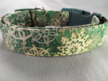 Batik Snowflakes on Green Winter Dog Collar