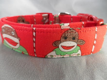 Sock Monkey Christmas Dog Collar Rescue Me Dog collar