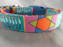Colorful Hanukkah Dog Collar Rescue Me Dog collar