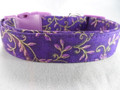 Gold Leaf Scroll on Purple Dog Collar rescue me collar