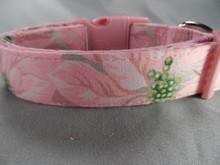 Poinsettias Pink Christmas Dog Collar rescue me dog collar
