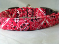 Red Bandanna Print Skull Dog Collar
