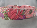 Spring Garden Pink Flower Dog Collar Rescue Me Dog Collar