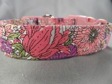 Spring Garden Pink Flower Dog Collar Rescue Me Dog Collar