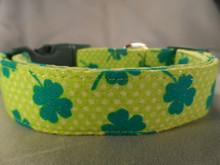 St. Patrick's Day Lucky Shamrocks Dog Collar Rescue Me Dog Collar