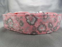 Pastel Pink and Gray Flowers Girl Dog Collar Rescue Me Collar