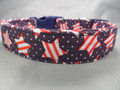 Red White and Blue Double Stars and Stripes Patriotic Dog Collar rescue me collar