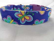 Dog Days Colorful  Blue and Purple Butterfly Dog Collar