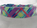Dog Days of Summer Blue and Purple Plaid Dog Collar