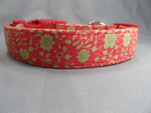Little Green Flowers on Red Dog Collar