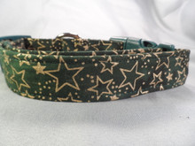 Gold Stars on Green Dog Collar