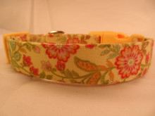 Dog Collar Fancy Flowers on Yellow