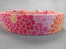 Dahlias Pretty Pink Dog Collar Rescue Me Dog Collar