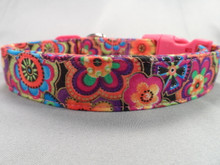 Dog Collar Dog Days Colorful Flowers Pink and Orange Rescue Me Dog Collar