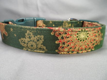 Christmas Dog Collar Gold Snowflakes on Holiday Green