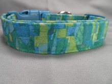 Boy Dog Collar, Aegean Blue and Green Graphic Print Rescue Me Dog Collar