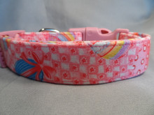 Easter Dog Collar Easter Eggs on Red and Pink Check Rescue Me Dog Collar