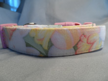 Easter Bunny Dog Collar Pastel Bunnies and Flowers