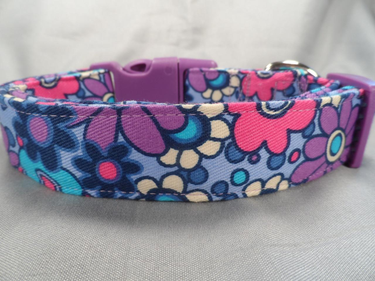 Girl Dog Collar Pink And Purple Flowers Dog Collar