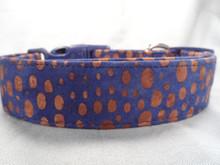 Polka Dot Dog Collar Blue and Brown Batik Dog Collar Rescue Me Collar
