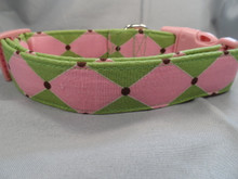 Preppy Dog Collar Pink and Green Harlequin Rescue Me Collars