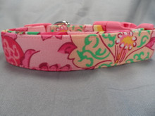 Girl Dog Collar, Flirty Pink and Green Flower Scroll Rescue Me Collar
