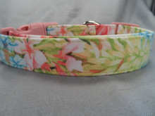 Flower Dog Collar, Springtime Pastels Rescue Me Collar