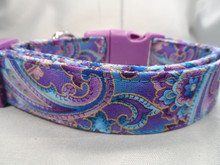 Fancy Dog Collar, Purple Paisley Dog Collar for Girls or Boys Rescue Me Collar