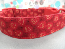 Valentine Dog Collar, Gold Hearts on Red Dog Collar Rescue Dog Collar