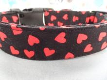 Valentine Dog Collar Red Hearts on Black Valentine's Dog Collar