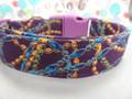 Mardi Gras Dog Collar Beads on Purple Rescue Me Dog Collar