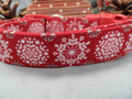 Winter Dog Collar, Fancy Snowflakes on Red Rescue Me Collars