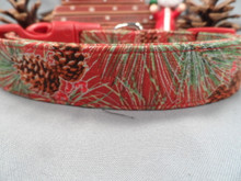 Fancy Winter Dog Collar, Pines on Red Rescue Me Collars