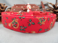 Christmas Dog Collar, Horns and Holly on Red Rescue Me Collar