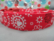 Bandana Paw Prints and Paisley Red Dog Collar Rescue Me Collar
