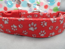 Paw Prints on Red Dog Collar Rescue Me Collar