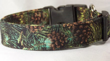 Evergreens and Pinecones Winter Dog Collar