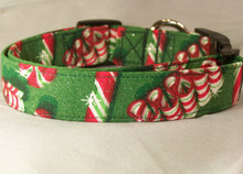 Christmas Ribbon Candy and Peppermints Dog Collar rescue me collar