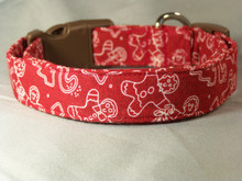 Gingerbread Cookies on Red Christmas Dog Collar  rescue me collar