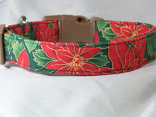 Red Poinsettias on Green Christmas Dog Collar rescue me collar