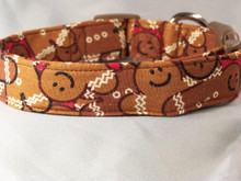 Large Gingerbread Men Christmas Dog Collar rescue me collar