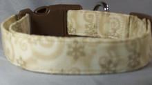 Gold Snowflake Swirls on Cream Dog Collar rescue me collar