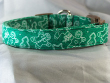 Christmas Cookies on Green Dog Collar rescue me collar