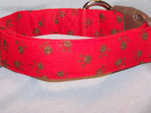 Brown Paw Prints on Red Dog Collar